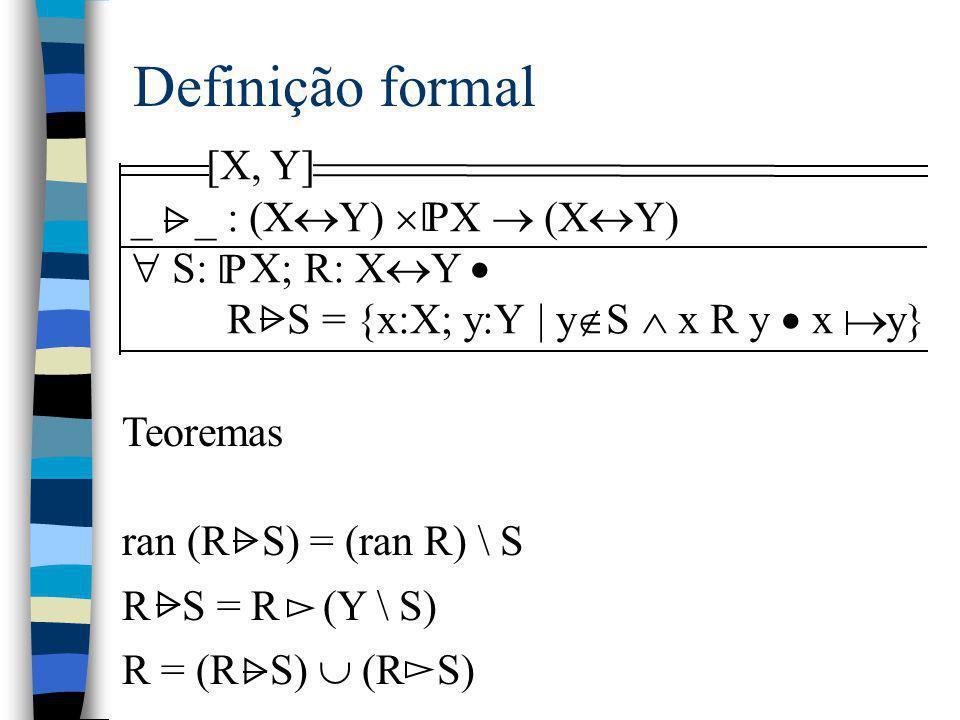 Definição formal [X, Y] _ _ : (XY)  X  (XY)  S: X; R: XY  P